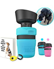 Ninth Bay, Dog Water Bottle Bowl, 520ml BPA Free, Superior Leak Proof 2 in 1 Pet Walking Outdoor Traveller, Easy to Clean Portable Big Mouth Dispenser, Bonus eBook & Dog Training Clicker (Blue)