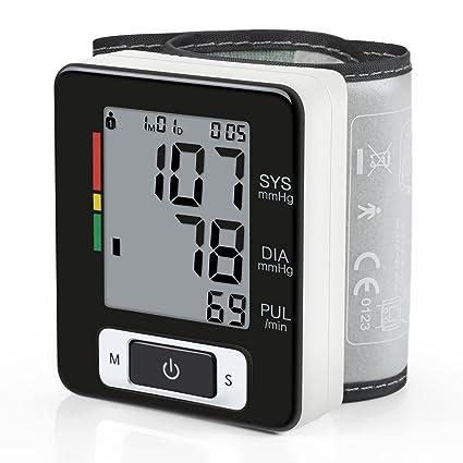amzdeal – Tensiómetro electrónico de muñeca con gran precisión, Tensiómetro digital con detección de ritmo