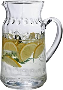 Glass Water Pitcher – 77 Oz. Hammered Tea Pitcher By Home Essentials & Beyond – Practical Juice Pitcher, Every Day Use, Elegant Serving Beverage Carafe For - Water, Juice, Sangria And Cocktails.