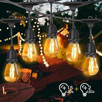 Guirnalda Luces Exterior, FOCHEA 15M Luces de Cadena con 15 LED Bombillas & E27 Base IP65 Impermeable para Jardín Patio Fiesta: Amazon.es: Iluminación