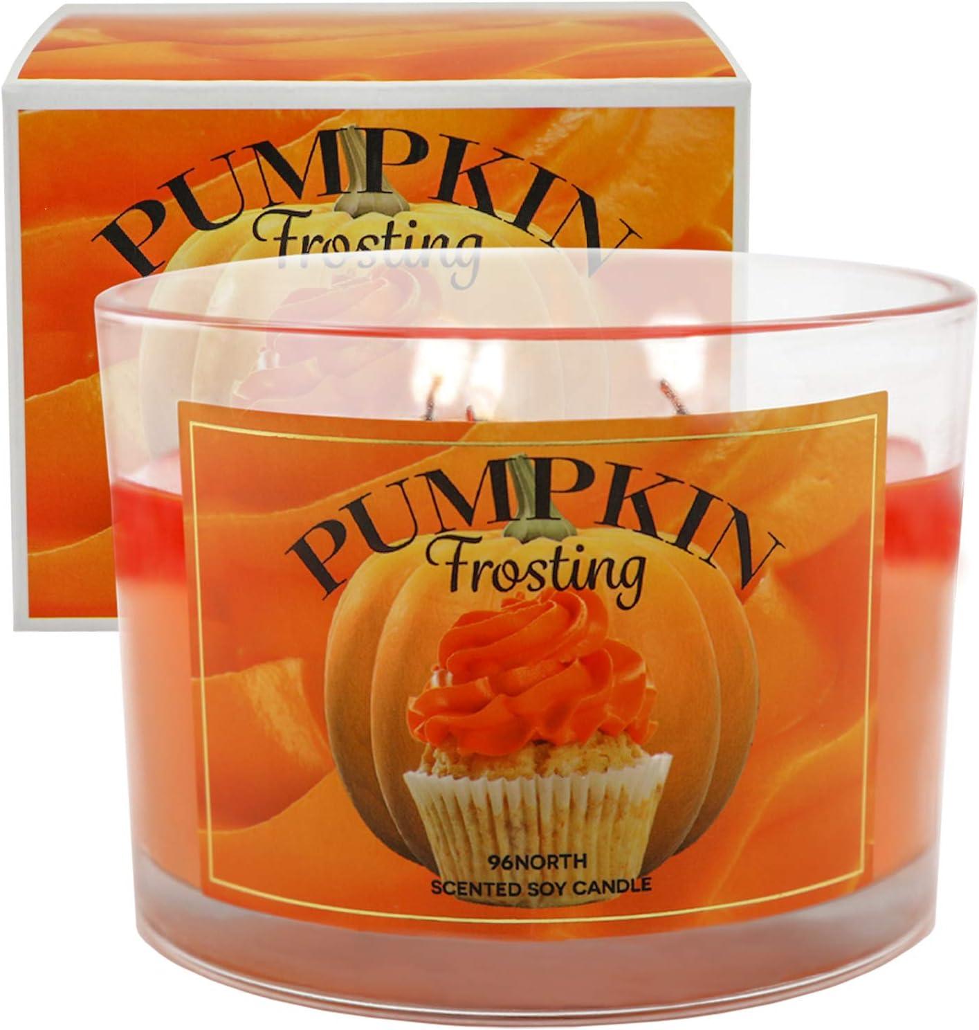 96NORTH Soy 3-Wick Pumpkin Candles, Pumpkin Spice Candles, Fall Candles // Pumpkin Spice Candles for Home, Pumpkin Scented Candles, Pumpkin Soy Candle, Fall Scented Candle, Candles for Home Scented