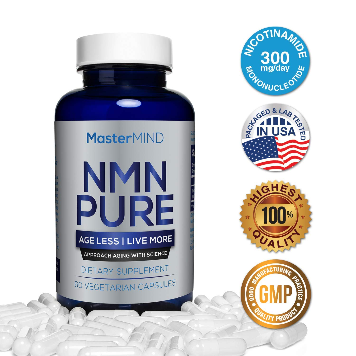 NMN PURE (300mg) | Nicotinamide Mononucleotide Supplement | NAD Booster & Antioxidant Pills | Boost Energy, Metabolism, Anti Aging, Muscle Recovery, Brain Focus & Reduce Stress + Anxiety I 60 Capsules by MasterMind Labs