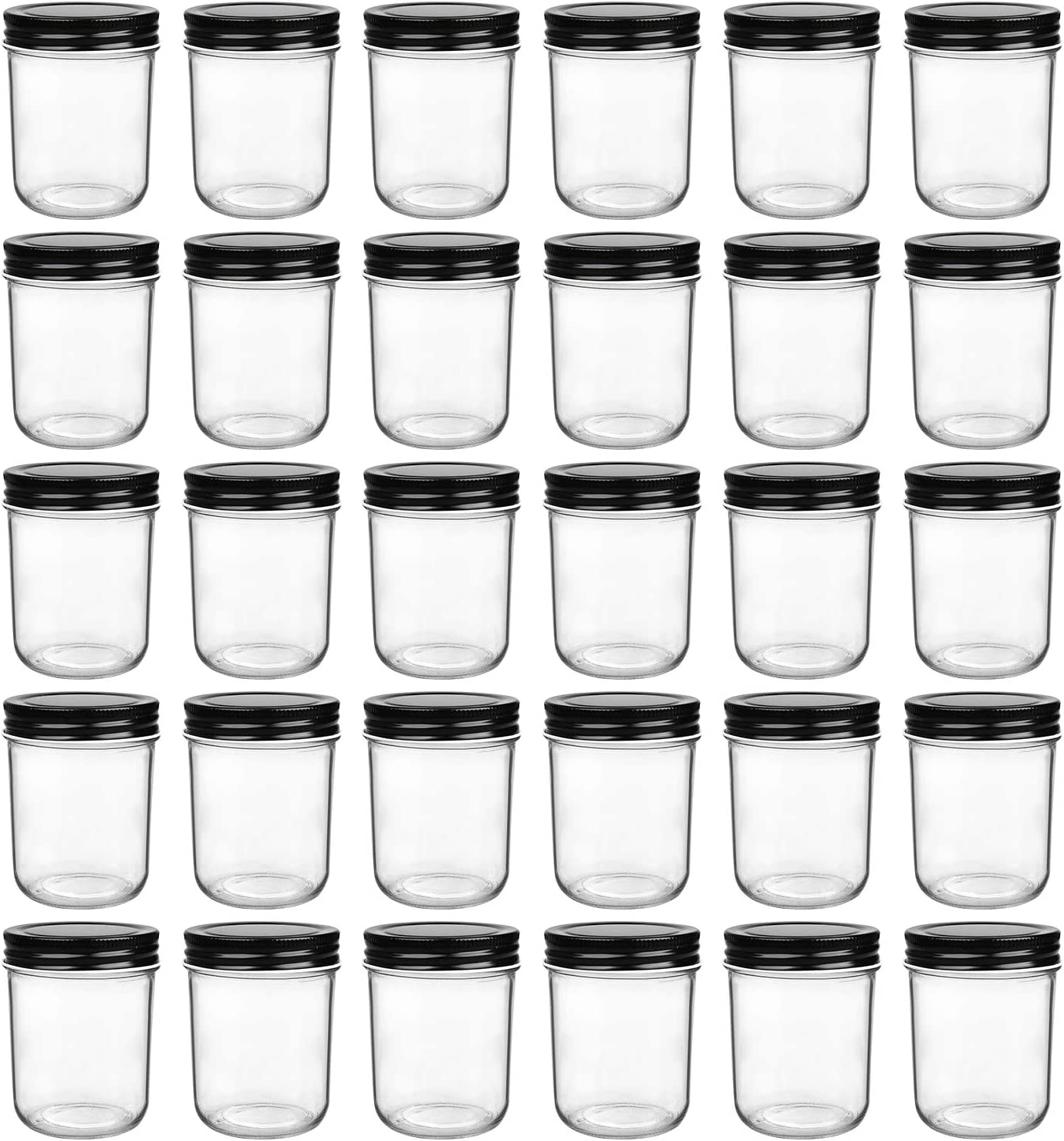 6oz Glass Jars With Lids,Small Mason Jars Wide Mouth,Mini Canning Jars With Black Lids,Kitchen Storage Jars For Honey,Jam,Jelly,Baby Foods,Wedding Favor,Shower Favors,Spice Jars Set of 30…