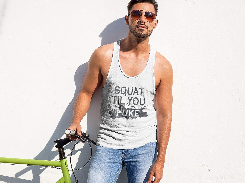FatCuckoo Squat Til You Puke Gilet de Musculation avec Dos Nageur 100/% Polyester