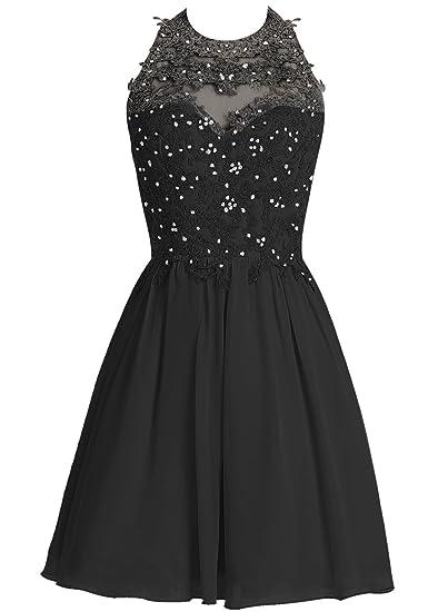 bbonlinedress Short Chiffon Halter Neck Prom Dress with Appliques Homecoming Dress