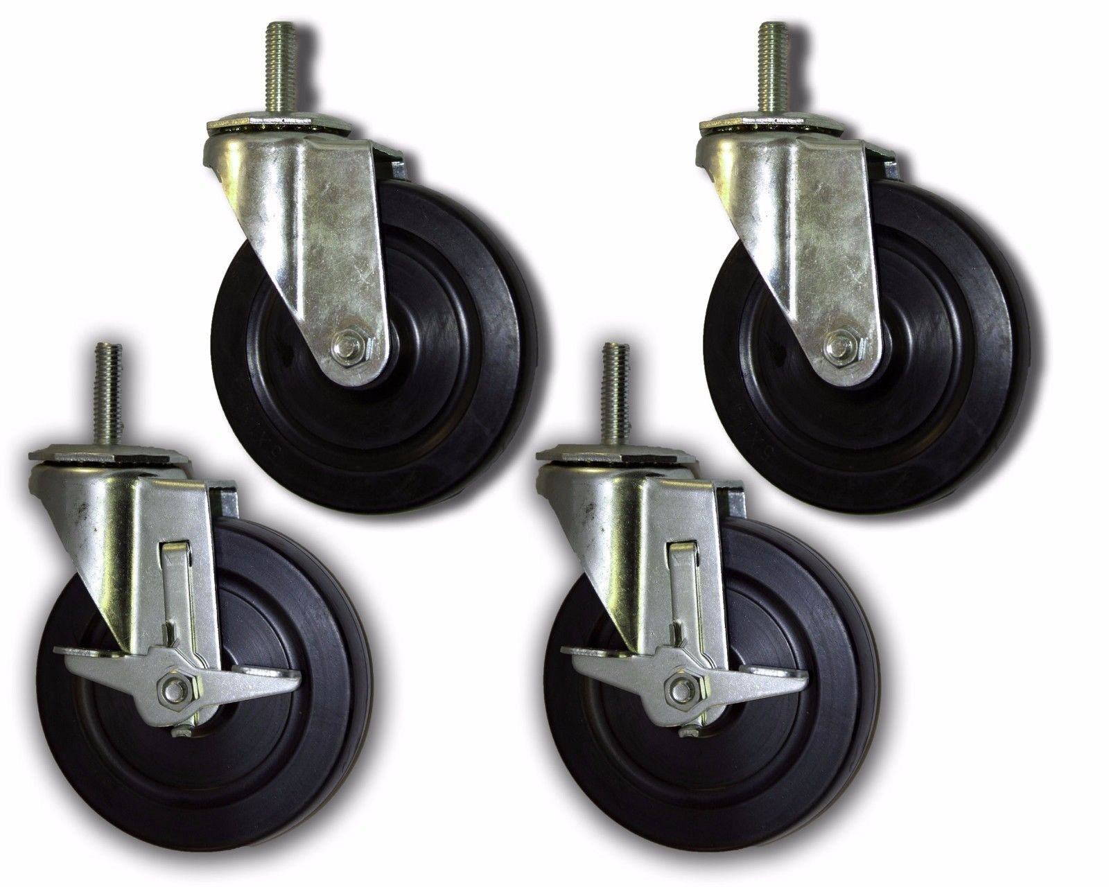 5'' Rubber Caster with 1/2'' x 1-1/2'' Threaded Stem (4 Pack)