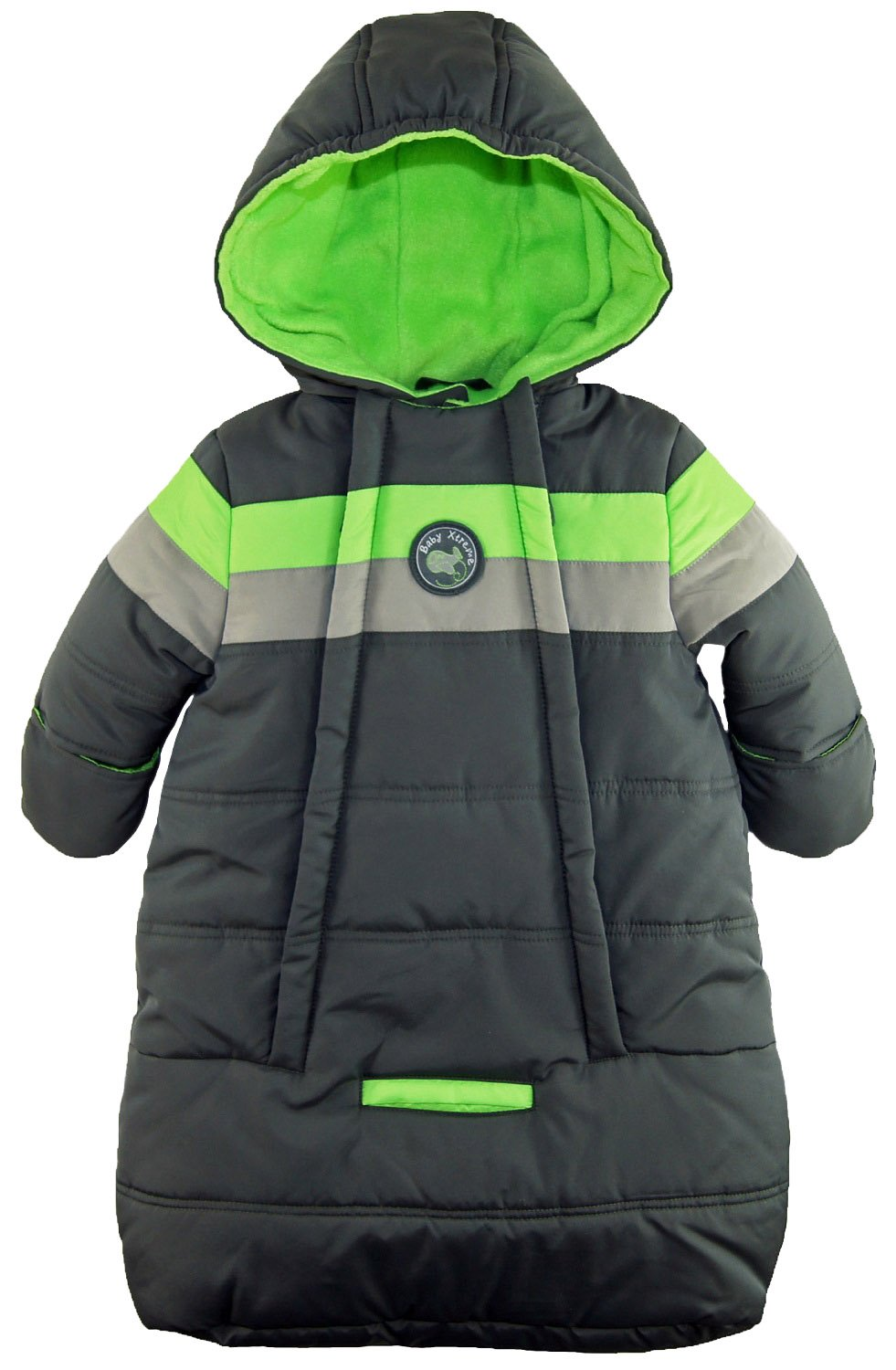 iXtreme Baby Boys Snowsuit Colorblock Stripes Puffer Carbag, Grey, 3-6 Months