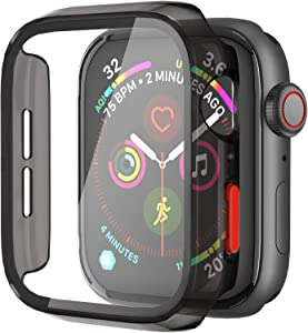 Aodesy Hard PC Case with Tempered Glass Screen Protector and Side Buttons Compatible with Apple Watch Series 6 SE Series 5 Series 4