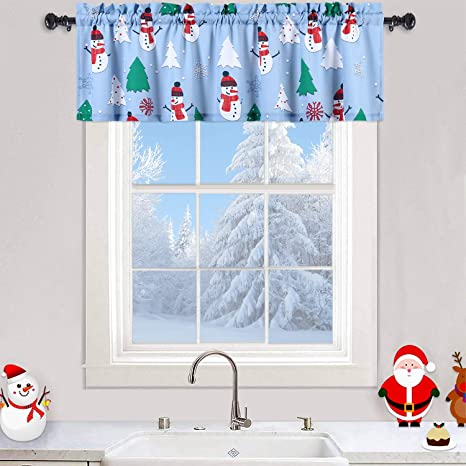 Amazon Com Haperlare Winter Snowman Printed Valance Curtains For Kitchen Cafe Christmas Tree And Snowflake Print Bathroom Window Multi Color Treatment 55 X 15 Light Blue Green Red Home