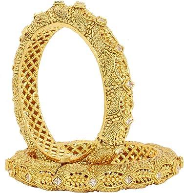 Sanara Indian Bollywood American Diamond Ethnic Traditional Gold Tone CZ Wedding Partywear Bangle Bracelet Jewellery