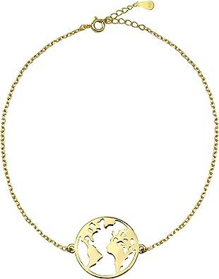 SOFIA MILANI Pulsera Mujer Mapa Mundial Mundo Plata de Ley Chapada en Oro 30208: Amazon.es: Joyería