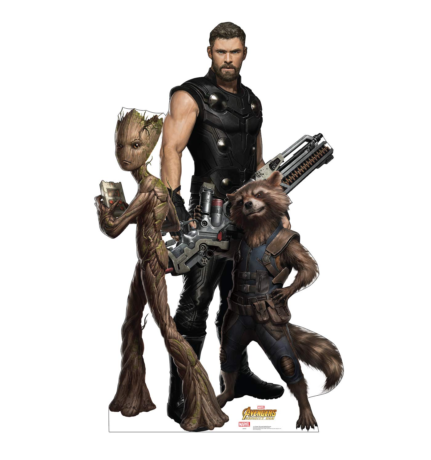 Advanced Graphics Groot, Thor & Rocket Raccoon Life Size Cardboard Cutout Standup - Marvel's Avengers: Infinity War (2018 Film)
