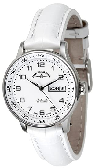 Zeno-Watch Reloj Mujer - Medium Size - Day Date white - 336DD-c2: Amazon.es: Relojes