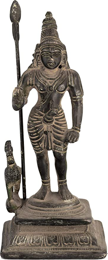 Exotic India Karttikeya-Hindu War Dios, Color Negro Envejecido ...