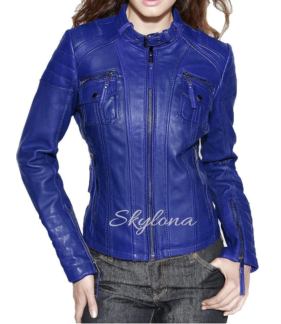 Womens Leather Jacket Stylish Motorcycle Biker Genuine Lambskin WJ 60