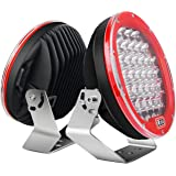"Led Light Bar Nilight 2PCS 9""185w 17000LM Red Round Spot Light Pod Off Road Fog Driving Roof Bar Bumper for Jeep,SUV…"