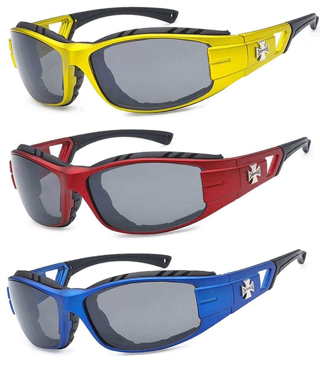 fbaace21fd Amazon.com  3 Pairs Choppers Padded Foam Wind Resistant Riding Sunglasses  (Blue Black Yellow)  Clothing
