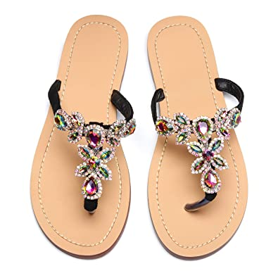 df4c35bf3 azmodo Women s Black Hand Crafted Flip Flop Rhinestones Sandals Y22 (US  5.5 EU 36