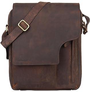 6e9052a72f96 Leaderachi - 100% Pure Genuine Real Vintage Hunter Buffalo Leather Handmade  Men Crossover Shoulder Messenger