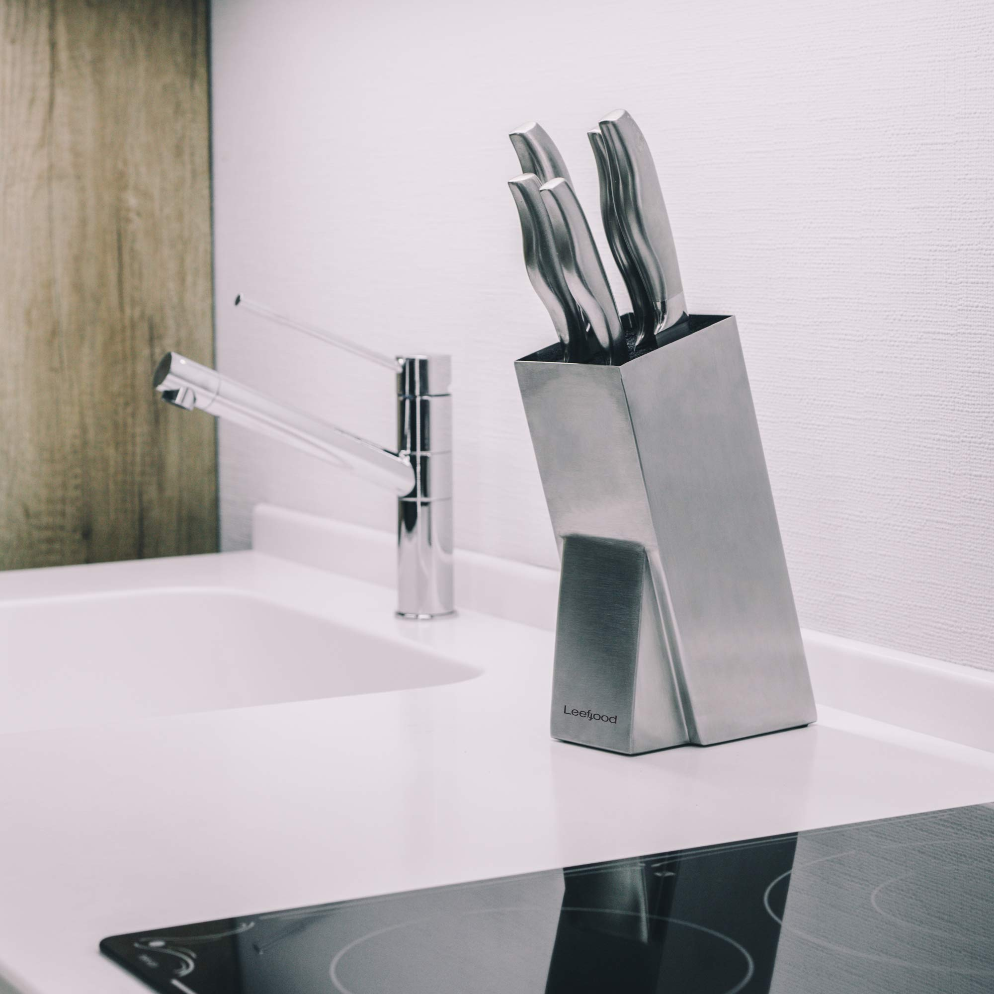 Universal Stainless Steel Knife Block Organizer – For Safe Kitchen Knife Holder Easy Clean Dishwasher Safe – Space Saver Knife Storage Stand by Leeffood (Image #6)