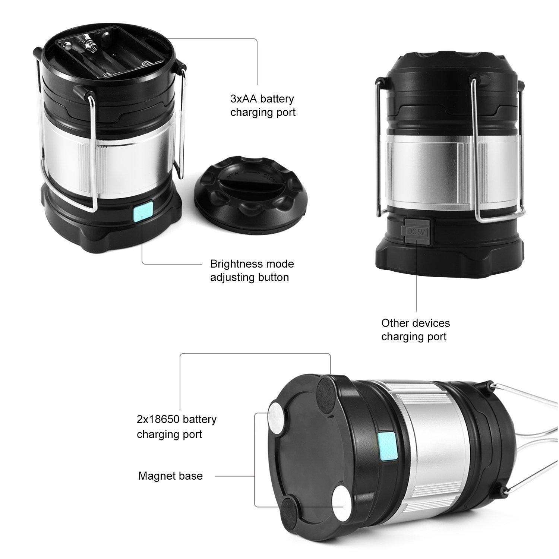 Lámpara LED Suparee portátil, recargable, con banco de energía para camping / tienda de campaña, bombilla de 2 colores, 4 modos de intensidad de iluminación ...