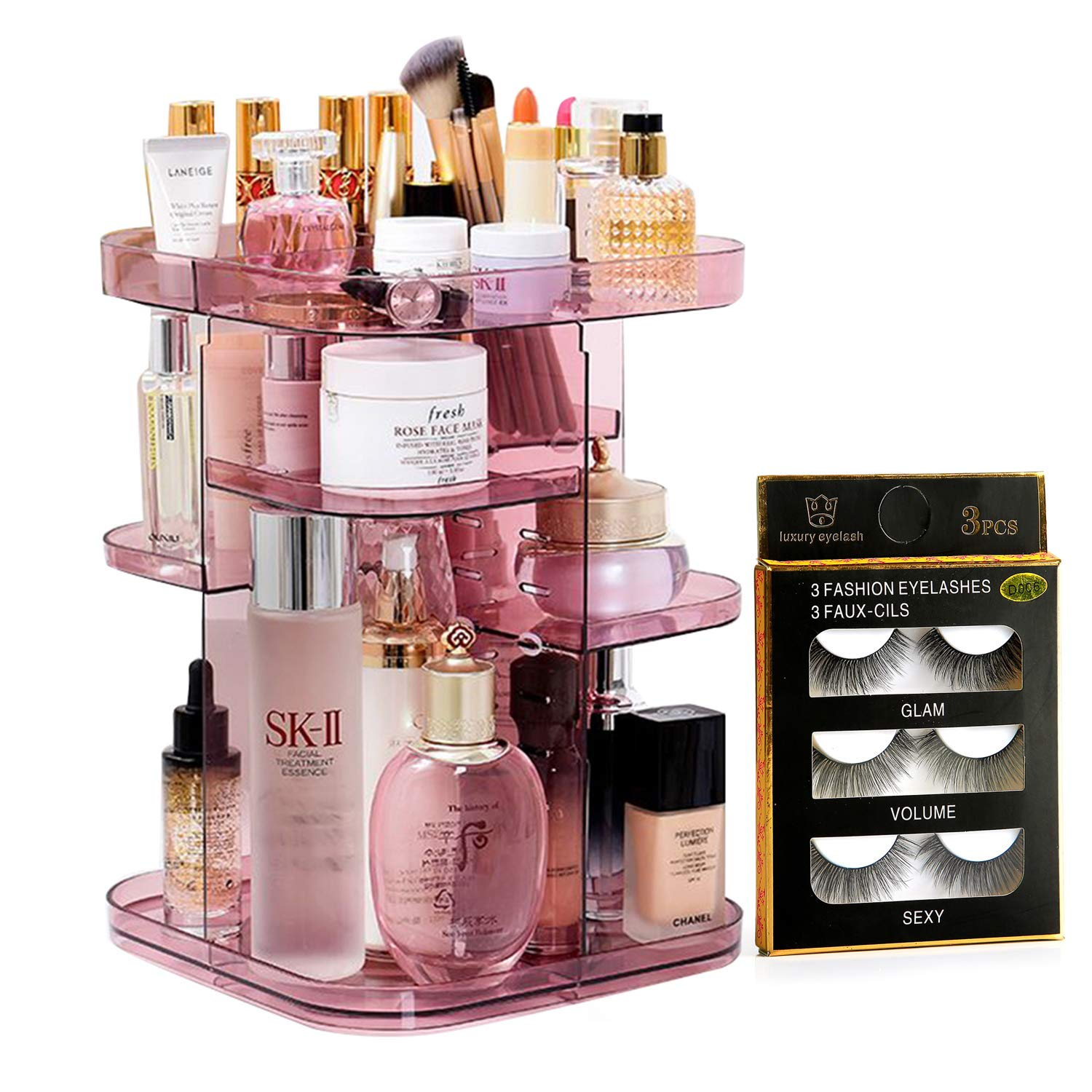 Upgraded Makeup Organizer 360 Smooth Spinning Sturdy Acrylic NOT PLASTIC Cosmetic Storage Display Case for Brushes Lipsticks Rings-Free Returnless Replace Warranty
