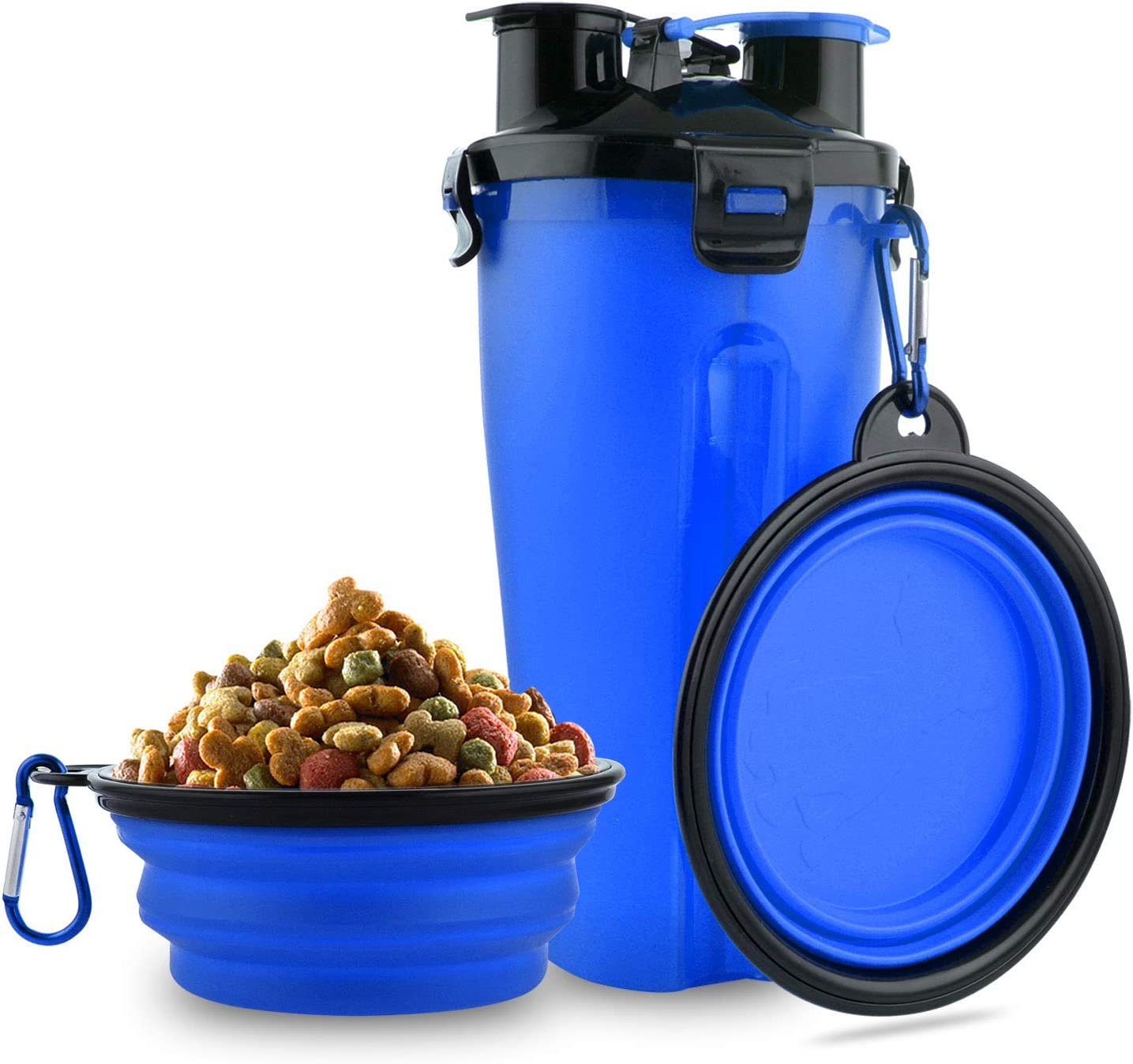 MATT SAGA Botella de Agua para Perros Portatil Envase de Comida para Perros con 2 Plegable Tazones para Perros Gatos Mascotas Adecuado para al Aire Libre Caminar Viajar (Azul)