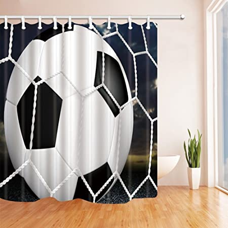 GoHEBE Sport Decor Shower Curtains By Soccer In Net Bath 71X71 Inches