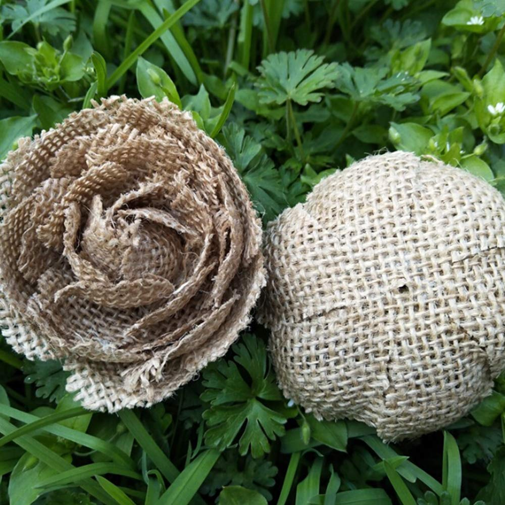 Pack of 12 CCINEE Natural Burlap Flowers Handmade Burlap Rose for Wedding Decoration and Floral Crafts Making