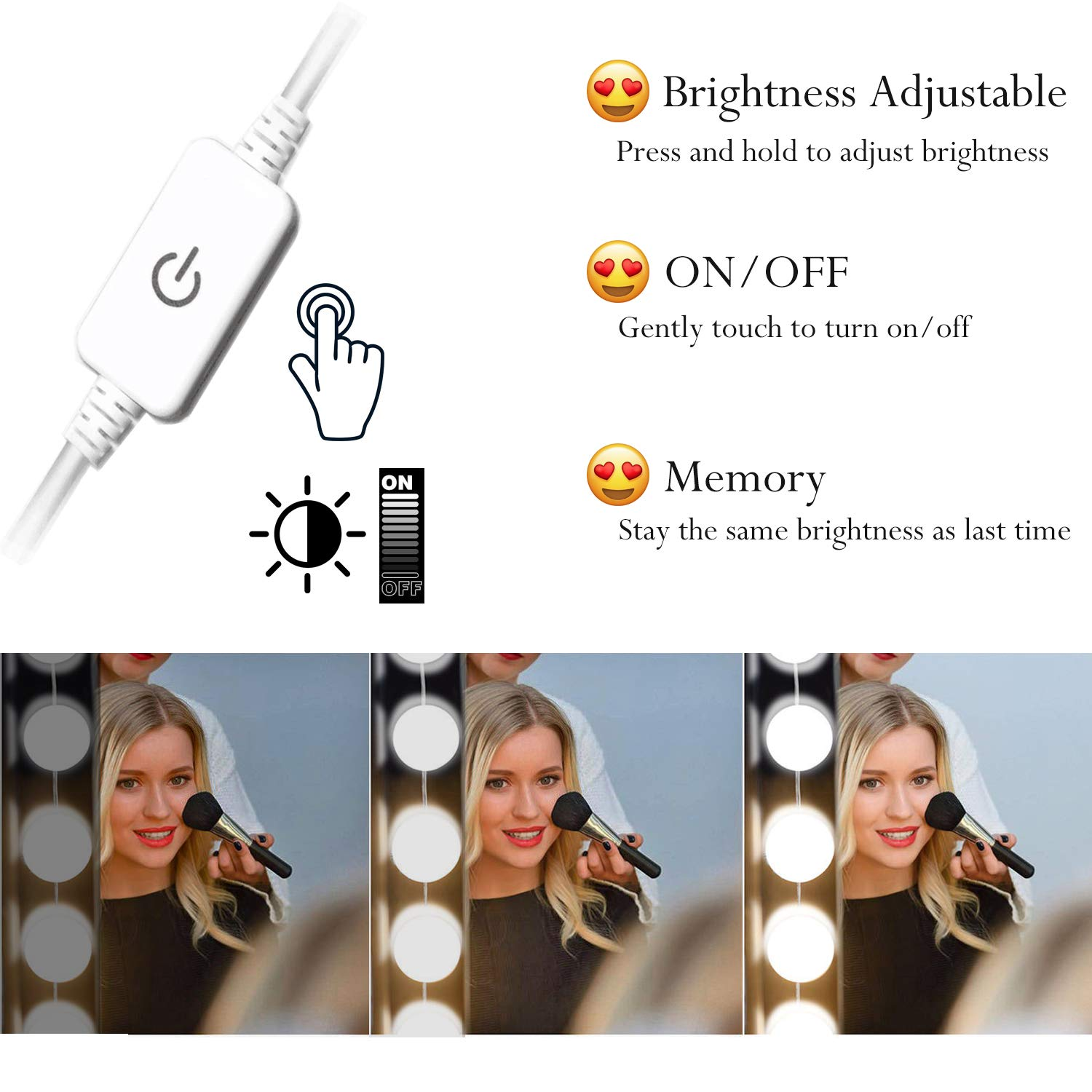 Oroncho Vanity Light Kit Lighting Fixture Strip for Bedroom Makeup Plug in Table Set Dressing Mirror NOT Included Vanity Light Mirror Hollywood LED Lights for Mirror with 10 Dimmable Light Bulbs