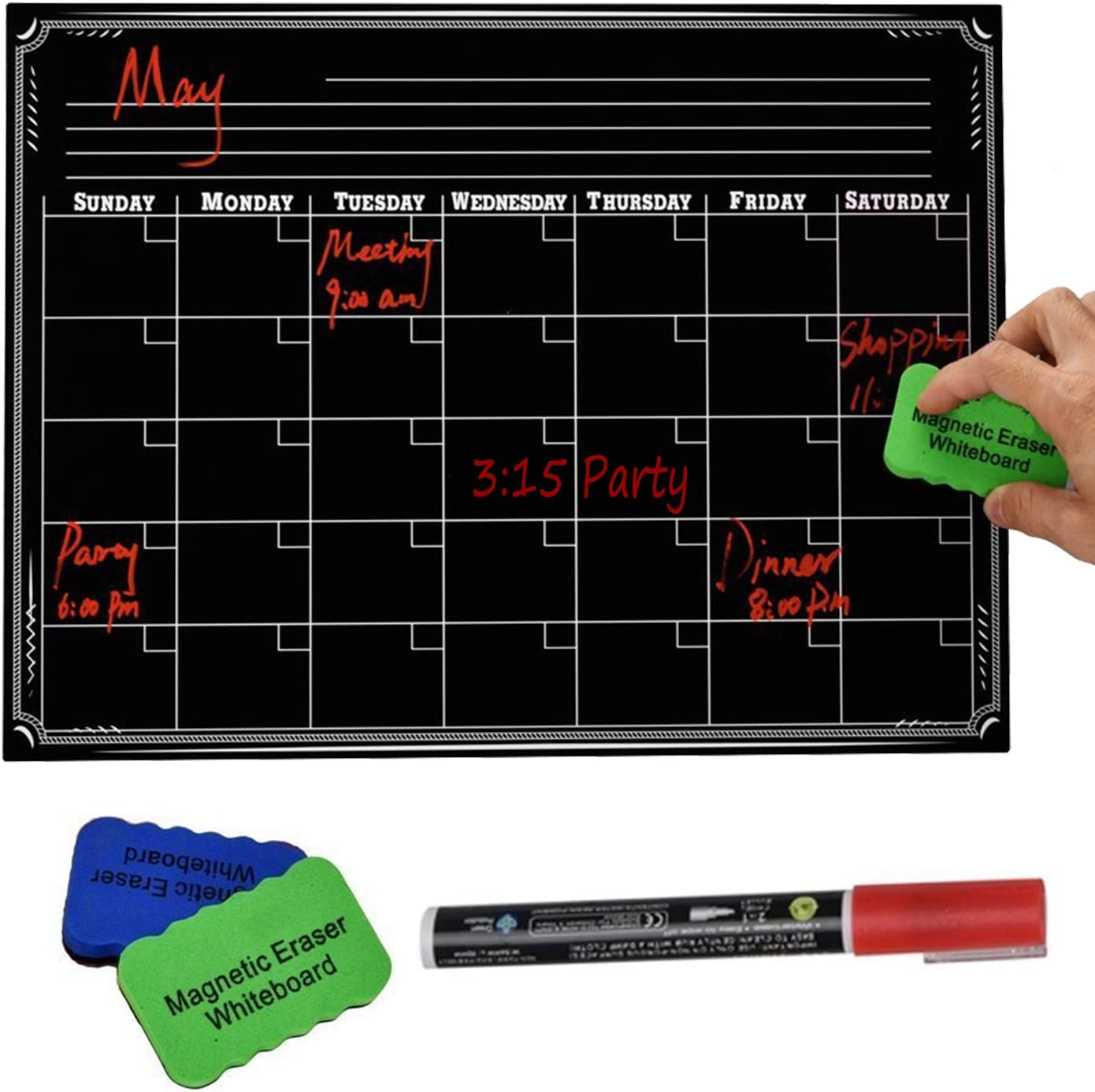 "PAPRMA Magnetic Dry Erase Calendar, Refrigerator Chalkboard, Monthly Calendar Set for Kitchen Refrigerator, 16"" x 12"" Large Magnetic Black Board"