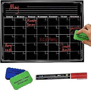"""PAPRMA Magnetic Dry Erase Calendar, Refrigerator Chalkboard, Monthly Calendar Set for Kitchen Refrigerator, 16"""" x 12"""" Large Magnetic Black Board"""