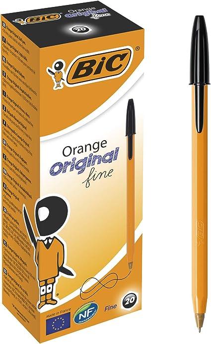 BIC 8099231 - Paquete de 20 bolígrafos de tinta negra, naranja: Amazon.es: Oficina y papelería