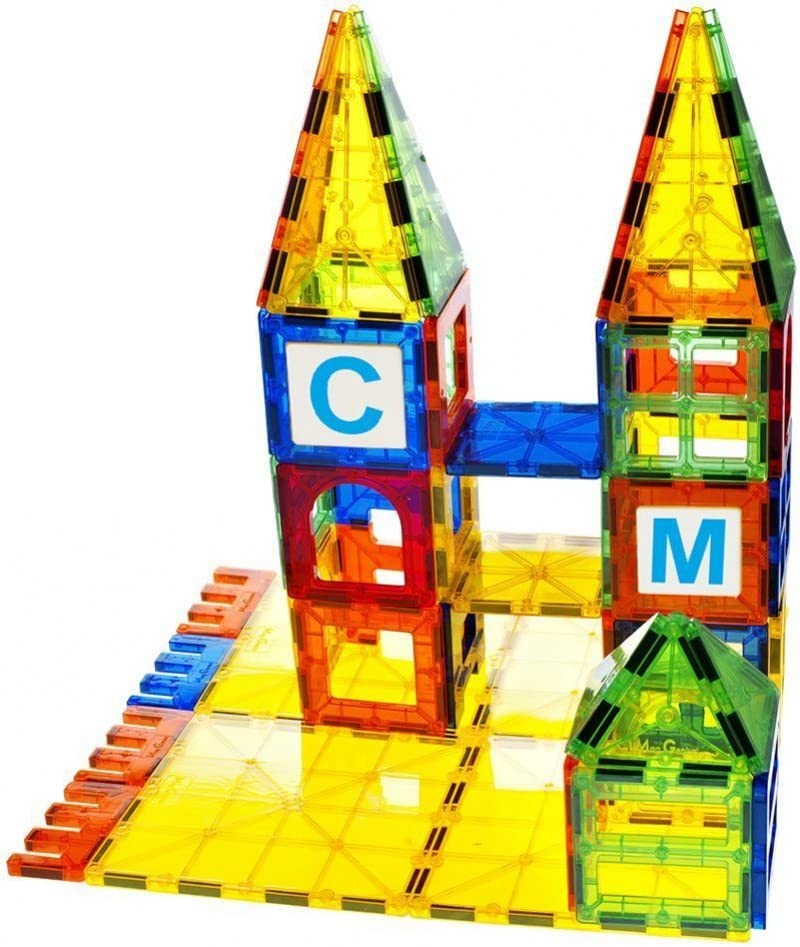 Mag-Genius Series 2 Magnetic Building Tiles Translucent Colours Preschool Skills Educational Game Construction Stacking Sets With New silver Magnets Master Set of 172 Pieces Storage Bin KidsVoiceToys 43197-20512