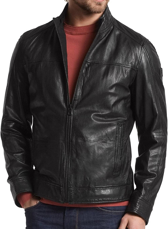 Mens Genuine Cow Leather Jacket Slim fit Moto Biker Jacket LFC241 L