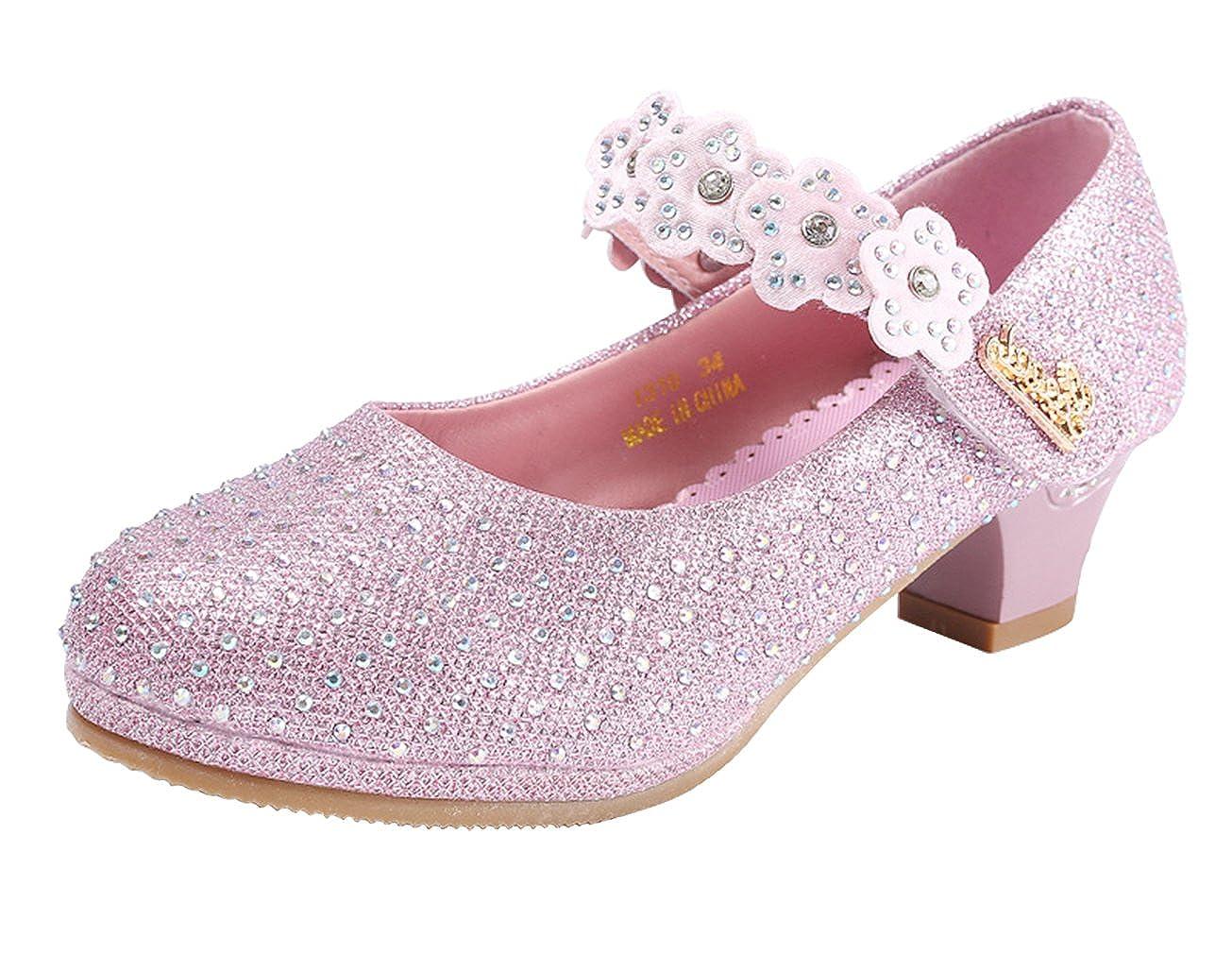 Eozy Chaussure Fille Ballerine /à Talon Chaussure Princesse Enfant pour C/ér/émonie Mariage avec Bretelle
