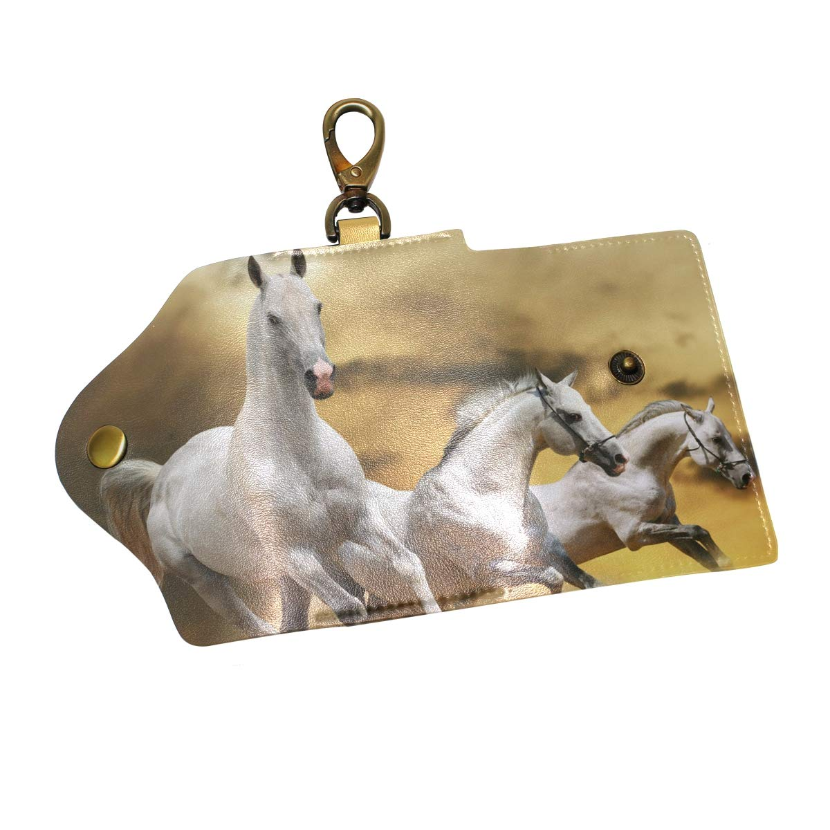 KEAKIA Horse Running Grass Leather Key Case Wallets Tri-fold Key Holder Keychains with 6 Hooks 2 Slot Snap Closure for Men Women