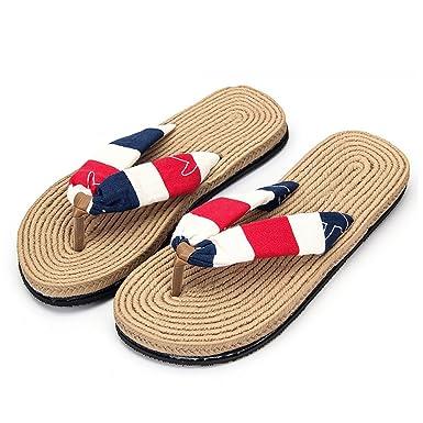 Sfit Damen Sommer Sandalen Streifen Zehentrenner Schuhe Flach Hausschuhe  Flat Dianetten Pantoffel Flip Flop 5faf1663e5