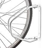 Relaxdays Fahrradhalterung als Fahrradständer für alle Fahrradtypen zur Montage an der Wand als robuster drehbarer Fahrradhalter aus robustem Stahl (verzinkt) HBT: 32,5 x 9 x 28,5 cm, silber