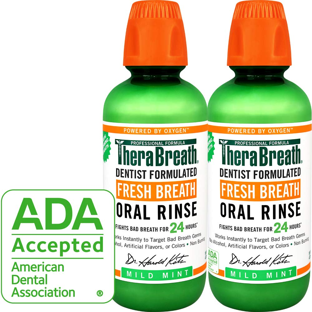 TheraBreath – Fresh Breath Oral Rinse – Dentist Formulated – Stops Bad Breath – No Artificial Flavors – Gluten Free – Certified Kosher – Mild Mint Flavor – 16 Ounces – Two-Pack by TheraBreath (Image #1)