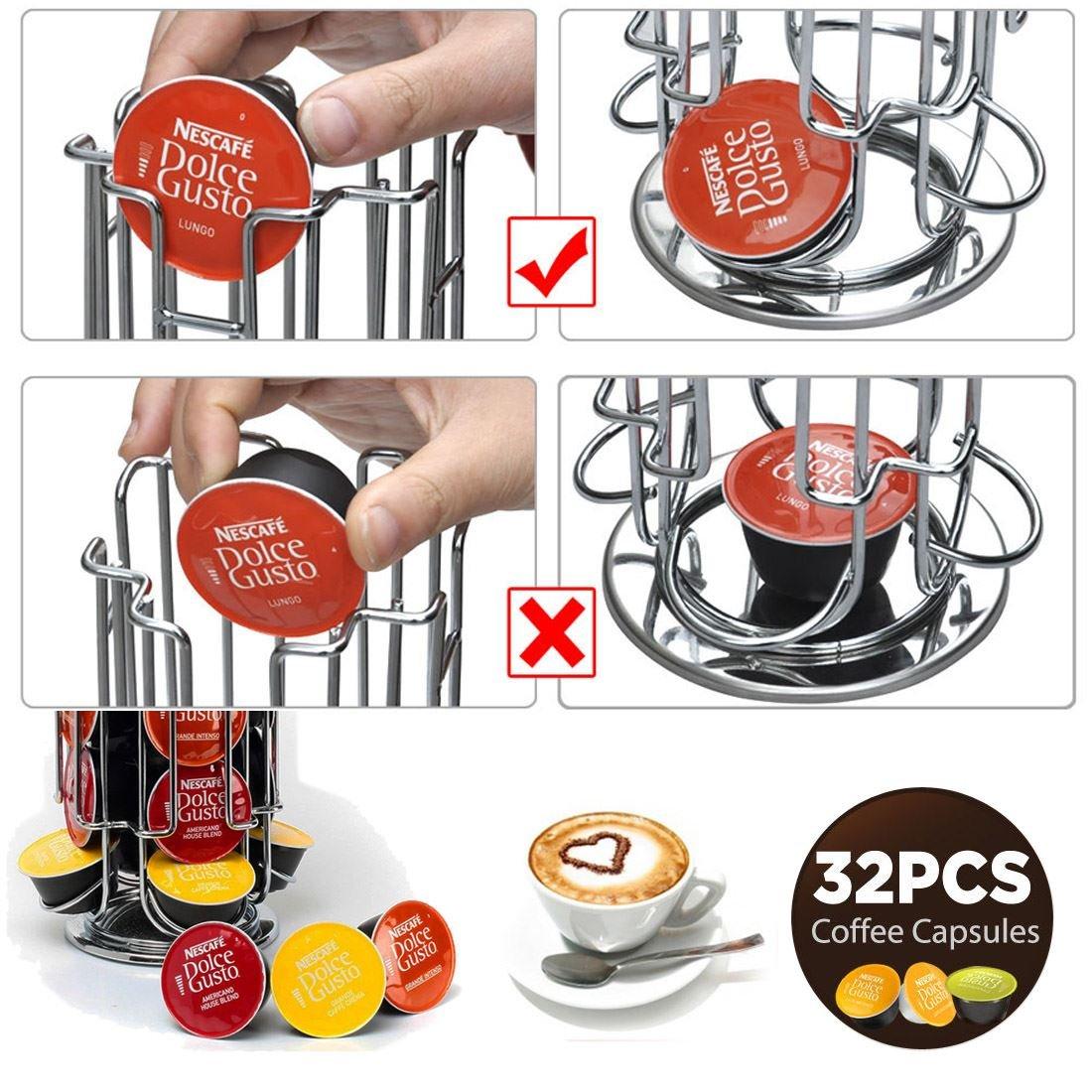 Dispensador de cápsulas de café 24/32 DOLCE GUSTO Pod T-Disc de acero inoxidable con base giratoria – almacena hasta 24/32 cápsulas de DOLCE GUSTO Pod ...