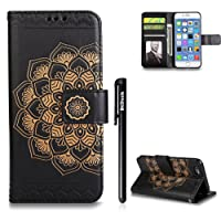 Case for iPhone 6 plus/6S plus,BtDuck Leather Wallet Case For iPhone 6 plus/6S plus,Emboss Mysterious Mandala Stand Flip Leather Magnetic Clear Case With Cards Holder Blue Gold Green Purple Rose Gold Gray Black Rose Red Packing listing: 1 x iPhone 6 plus/6S plus case + 1 x Black touch pen
