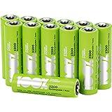 Akku Batterien AA/Mignon / HR6, NiMH, wiederaufladbar, 1,2 Volt (1,2V), 100% PeakPower 2300mAh, LSD Technologie, Ready-to-Use - Akkus bereits vorgeladen (12 Stück Akkubatterien)