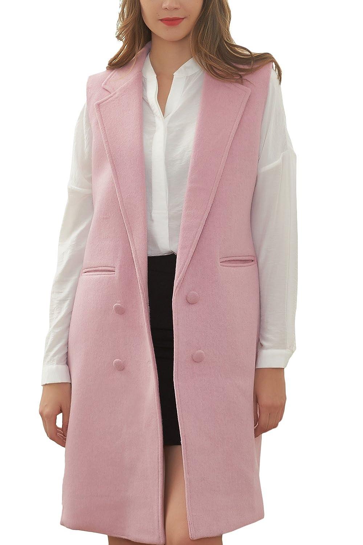 Hanayome Women's Wool Blend Vest Coat Longline Sleeveless Slim Fit Outwear Jacket MI29-A1