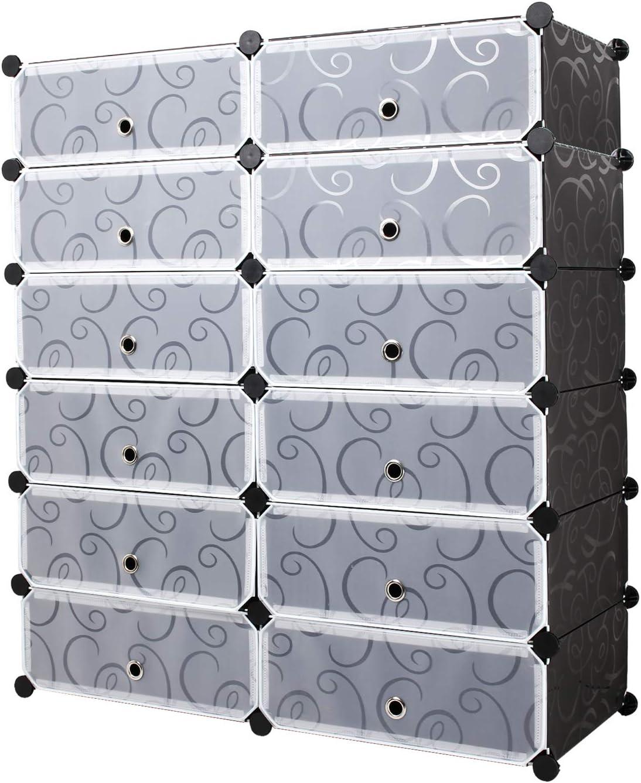 Meerveil Portable Shoe Storage Organizer Racks, Plastic Cube Shoe Cabinet Shelving for Space Saving, Shoe Rack Shelves for shoes,Slippers (2 * 6-tier) (Black)