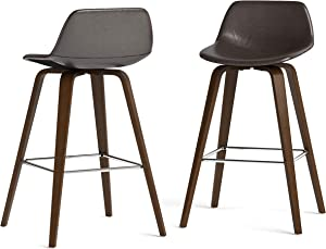 SIMPLIHOME Randolph Mid Century Modern Bentwood Counter Height Stool (Set of 2) in Dark Brown Faux Leather