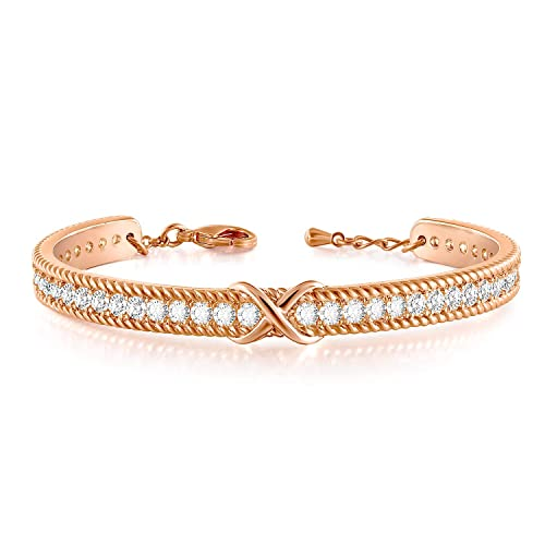 Angelady Rose Gold Cuff Bracelets Endless Love Infinity Friends Bracelet for Women with Gift Box