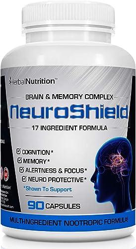 NeuroShield, Brain Memory Supplement, Multi-Ingredient Formula, One Bottle, 90 Capsules