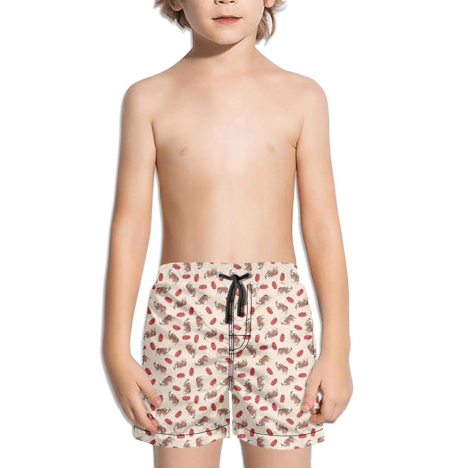 Cute Vintage Bulldog Kids Quick Dry Solid String Swimming Trunks Shorts