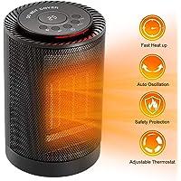 COMLIFE Keramik Heizlüfter 1200W / 600W, 2 Modi 3 Stufen Warm & Natürlich, mini Heizung mit LED Anzeige & Thermostat, Temperatur VoreingeStellbar, Oszillierend, Überhitzungs- und Umkippschutz
